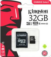 32 Gb Kingston class 10 80Mb/s Canvas Select /UHS-I U1/SDCS/32GB/R-80Mb/sW-10Mb/s Карта памяти MicroSDHC