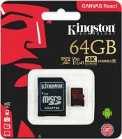 64 Gb Kingston class 10 100Mb/s Canvas React/UHS-I U3/SDCR/64GB/R-100Mb/sW-80Mb/s Карта памяти MicroSDXC