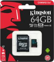 64 Gb Kingston class 10 90Mb/s Canvas Go/UHS-I U3/ SDCG2/64GB /R-90Mb/sW-45Mb/s Карта памяти MicroSDXC